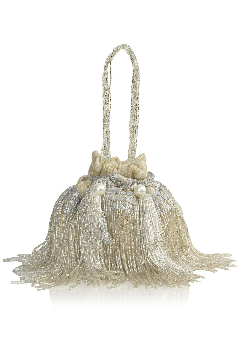 Cleopatra Collection: White and Silver Tassels Potli