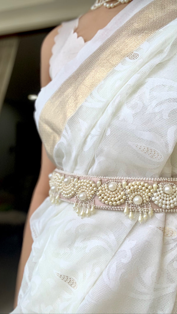 Pearls Scallops Hand Embroidered Belt