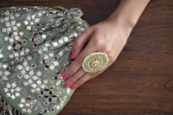 Pastel Green Mirror Work Potli Bag - Ozel Bir Sey