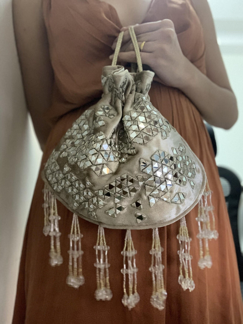 Golden Velvet Mirror Work Potli Bag