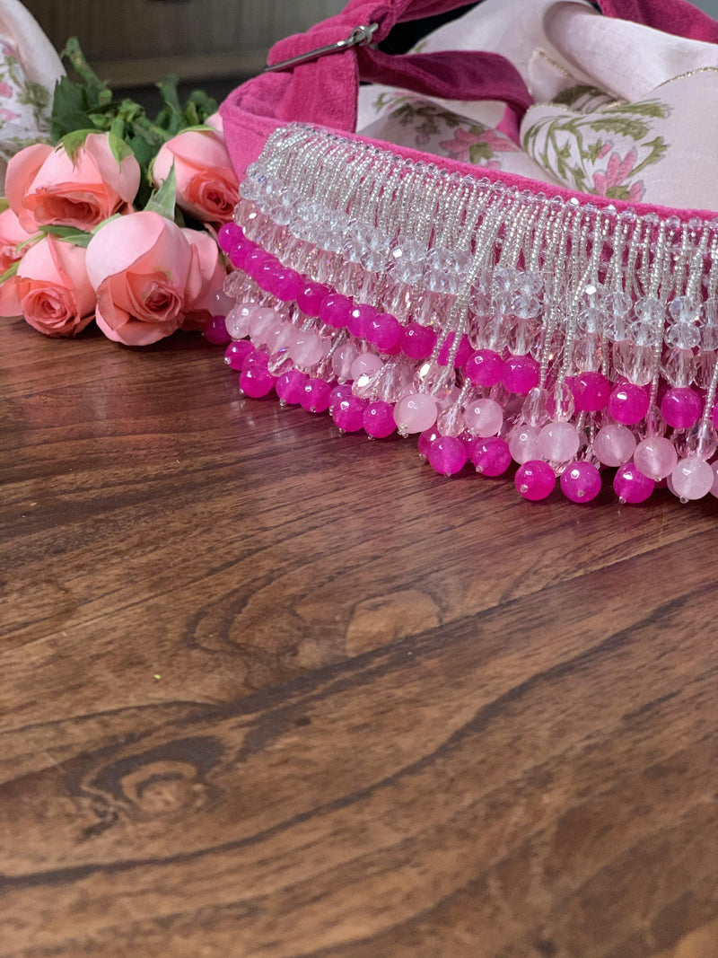 Hot pink and rose quartz tassels Hand Embroidered Belt - Ozel Bir Sey