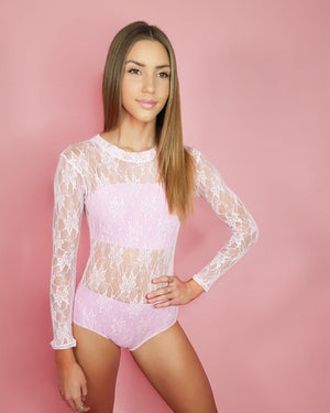Frilledneck Fashion Lace Leotard - Ballet Pink