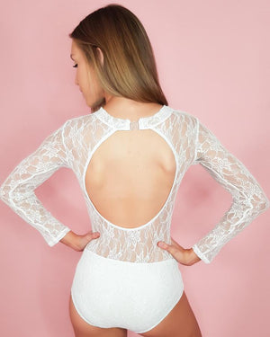 Frilledneck Fashion Lace Leotard - White