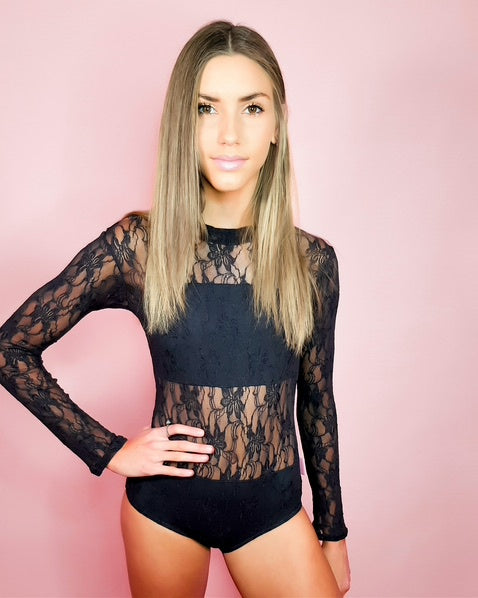 Frilledneck Fashion Lace Leotard - Black