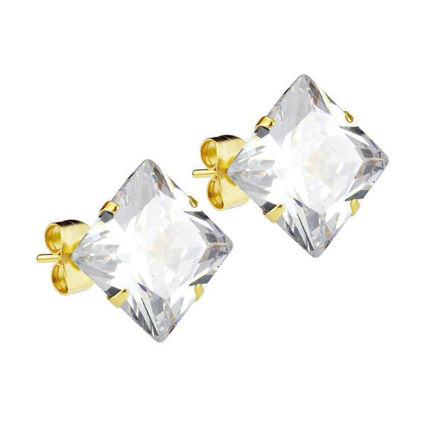 Mister Square Stud Earrings - Gold