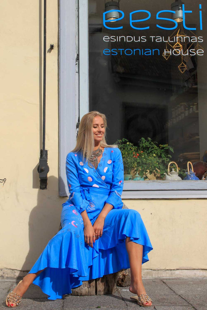 Azure Maxi Wrap Dress