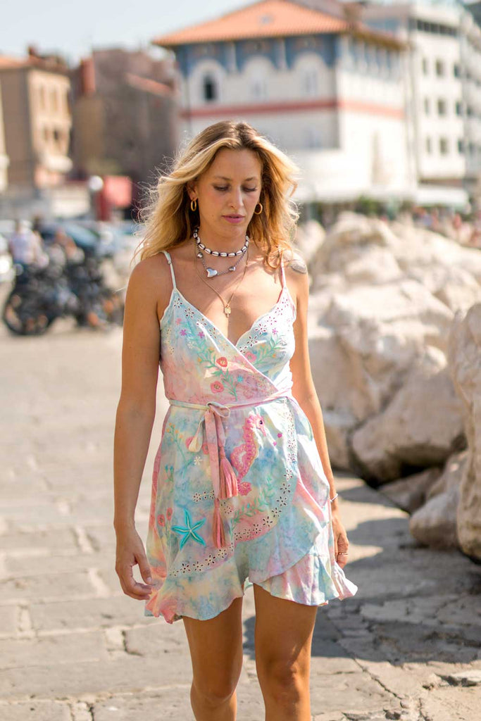 Chania Sunset Slip Wrap Dress