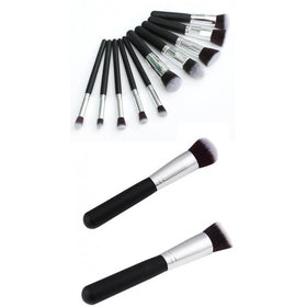 10Pcs Mini Handle Cosmetic Foundation Powder Eyeshadow Makeup Brush Tool Kit HomeBazar-pk