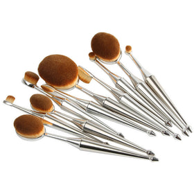 10 Piece Mermaid Oval Makeup Brush Set (Silver)