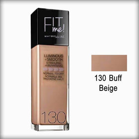 130 Buff Beige Fit Me! Luminous + Smooth Foundation Spf 18 - Maybelline