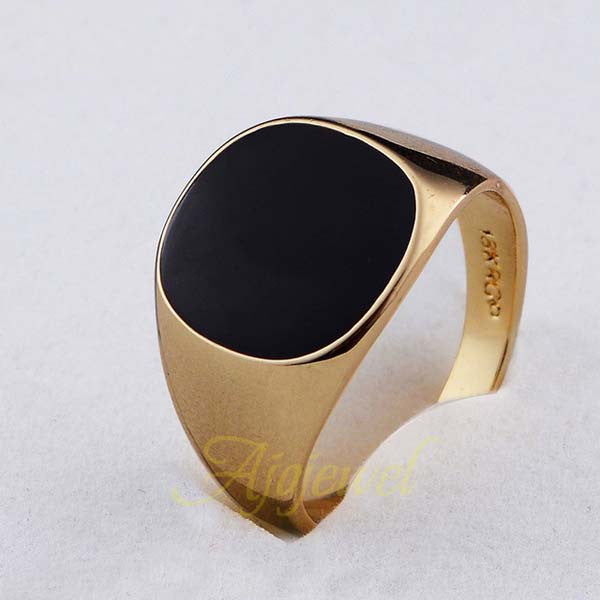 18k Gold Plated Fashion Jewelry Black Ring Man - HomeBazar.pk - 1