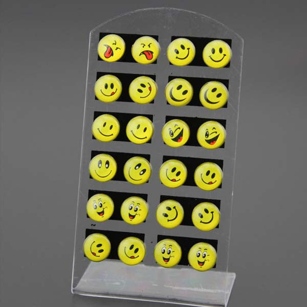 12 pairs Round Yellow Happy Face Emoji Earrings - HomeBazar.pk