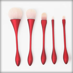 5pcs Goblet Makeup Brushes Set Red
