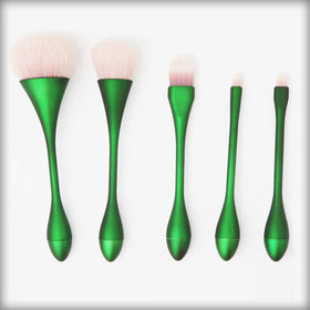 5pcs Goblet Makeup Brushes Set Green