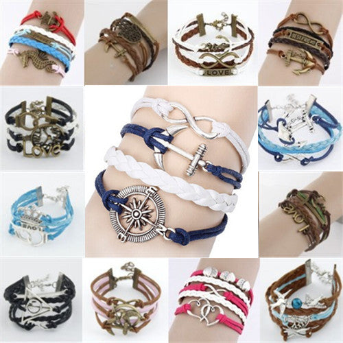 2015 Fine Vintage Braided Anchors Rudder Jewelry Metal Leather Bracelets Multilayer Rope Bangles Wholesale Factory Price