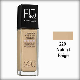 220 Natural Beige Fit Me! Luminous + Smooth Foundation Spf 18 - Maybelline