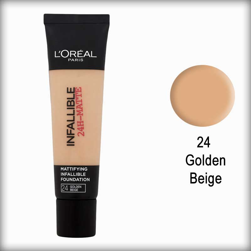 24 Golden Beige Infallible 24H-Matte Mattifying Foundation - L'Oreal Paris