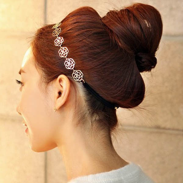 Top Sale Hollow Rose Flower Elastic Hair Band Headband Accessories Fashion Metal Chain Jewelry for Women Free Shipping Headwear