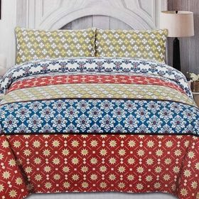 3-pcs-multi-color-floral-cotton-bedsheet