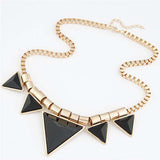 Bohemia Style Triangle Gems Bib Necklace