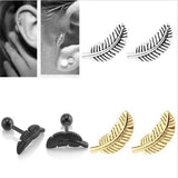 Brinco Black Gold Silver Leaves Stud Earrings - HomeBazar.pk - 2