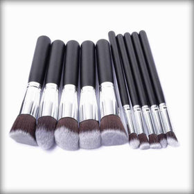 10 PCs Large Handle Cosmetic Foundation Powder Eye shadow Makeup Brush Tool Kit Black&Sliver
