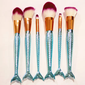 Coshine 6pcs Blue Mermaid Nylon Hair Makeup Brush Set