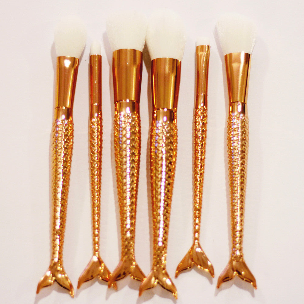 Coshine 6pcs Golden Mermaid Nylon Hair Makeup Brush Set