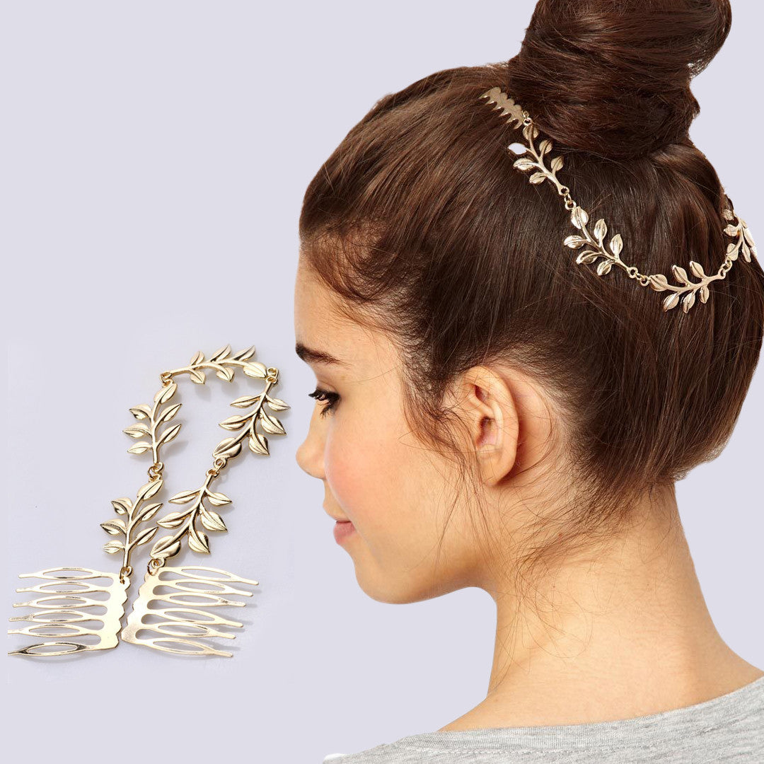 Gold Plated Leaf Hairband Hair Chain Double Combs Cuff Head Piece Accessories