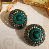 Fashion Personality Hollow Cone Green Imitation Gem Ghost Stud Earring 2016 New Design Retro Earring Jewelry For Women E623