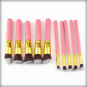 10 PCs Large Handle Cosmetic Foundation Powder Eye shadow Makeup Brush Tool Kit Gold & Pink