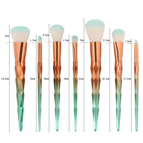 Gold Green 7Pcs Makeup Brushes set