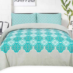 green-and-grey-floral-cotton-bedsheet