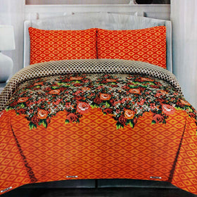 orange-floral-cotton-bedsheet