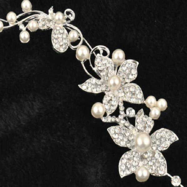 Silver Rhinestone Bridal Wedding Flower Pearls Headband - HomeBazar.pk - 1
