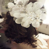 Silver Rhinestone Bridal Wedding Flower Pearls Headband - HomeBazar.pk - 2