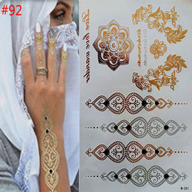 Temporary tattoos gold necklace bracelet tattoo products metal temporary tattoo woman tattoo flash metal of fake gold and silve
