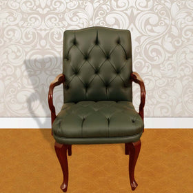 Touchwood Interior Green Leather Office Armchair