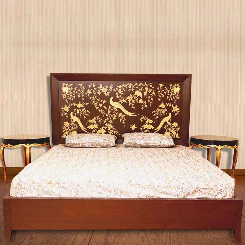 Touchwood Interior Hand Painted Floral Bed With 2 Side Tables