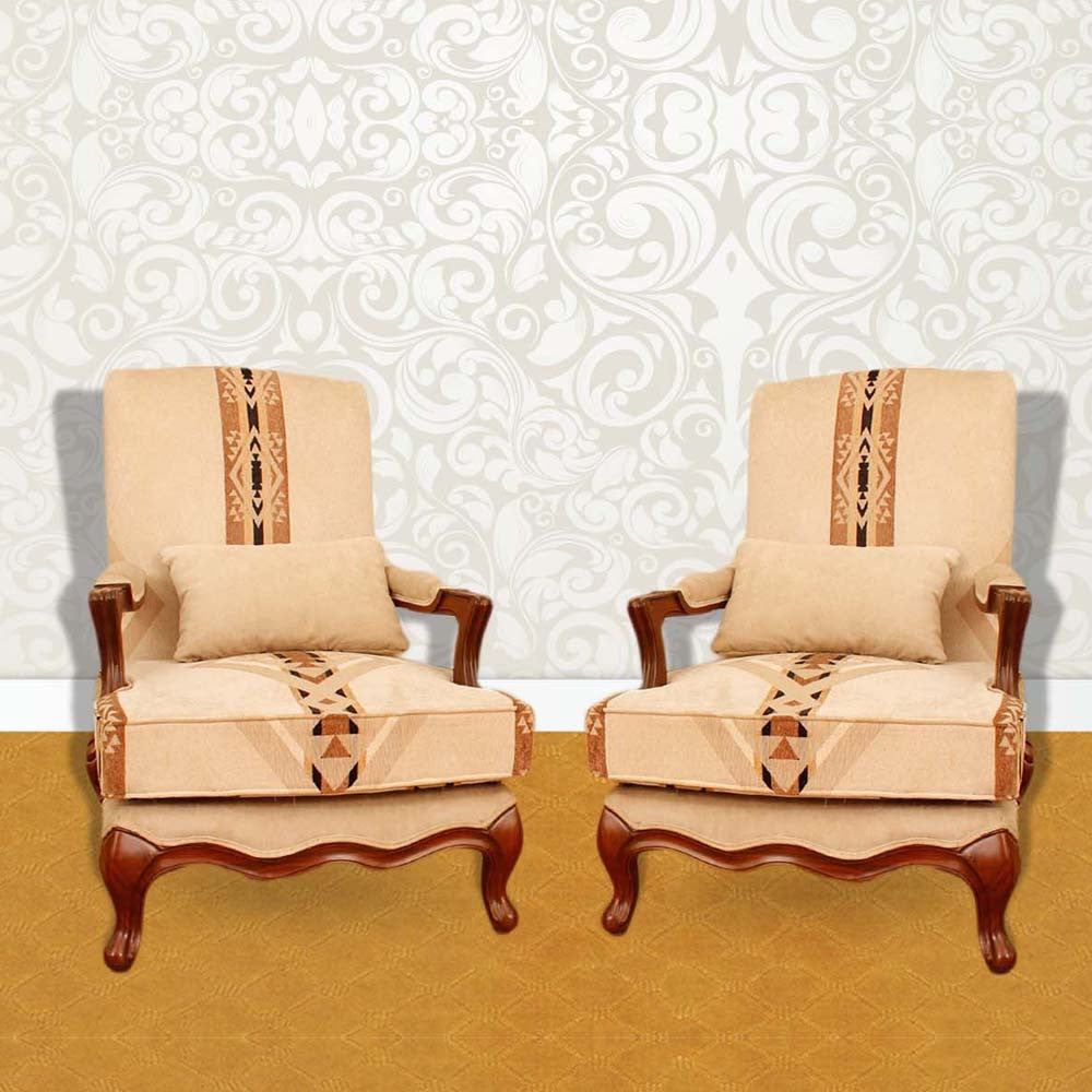 Touchwood Interior Sheesham Wood Armchair x 2