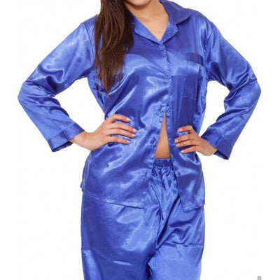 Valerie 100% Polyester Solid Satin PJ Set - Royal Blue - PJ 08 RB - HomeBazar.pk