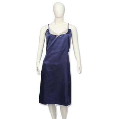 Valerie Navy Colour Long Chemise With Lace - CHE 04 NV - HomeBazar.pk