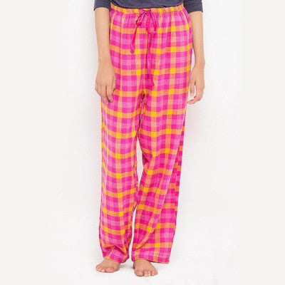 Valerie Pink & Yellow Cotton Flannel Pajama for Women - HomeBazar.pk