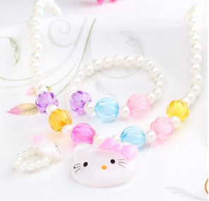 1Set=3Pcs New Three Hair Jewelry Sets Girls Necklace Bracelet Rings Kid Jewelry With Colorful Beads Sweet Candy Hair Accessories - HomeBazar.pk - 1