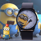 2016 New Fashion cute cartoon Children watch Despicable Me Minions style dial quartz watch leather strap watches seven colors - HomeBazar.pk - 1