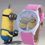 2016 New Fashion cute cartoon Children watch Despicable Me Minions style dial quartz watch leather strap watches seven colors - HomeBazar.pk - 8