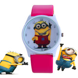 2016 New Fashion cute cartoon Children watch Despicable Me Minions style dial quartz watch leather strap watches seven colors - HomeBazar.pk - 3