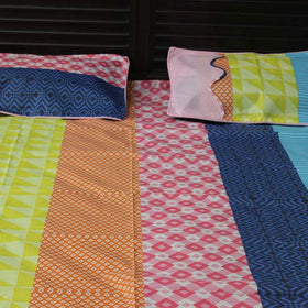 3Pc Multi Color Beautiful  Bed Sheet - HomeBazar.pk - 2