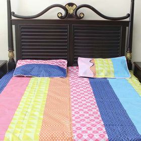 3Pc Multi Color Beautiful  Bed Sheet - HomeBazar.pk - 1