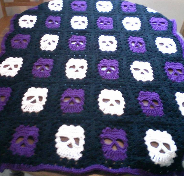 Skully Crochet Blanket – Sugar Skull Culture